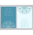 Blue and white flyers with ornate flower pattern vector image