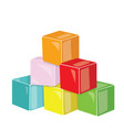 cartoon pyramid of colored cubes toy cubes for vector image