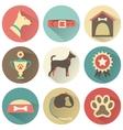 Retro dog icons set for web vector image