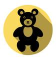 teddy bear sign flat black vector image