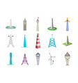 tower icon set cartoon style vector image