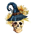 Watercolor halloween skull vector image