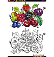 funny fruits coloring book vector image