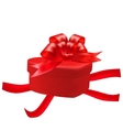 Gift box in the shape of a heart with a red bow on vector image