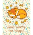 Do not worry be happy Cute card with sleeping vector image