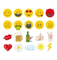 Emoticon icons set with thumbs up chat and vector image
