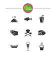 Food drink icons Alcohol fish and burger vector image