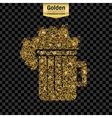 Gold glitter icon of beer isolated on vector image