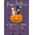 Halloween party poster with kids vector image