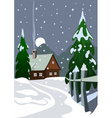 House in snow forest vector image