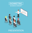 Isometric businessman giving a presentation in a c vector image