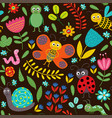 seamless pattern with insect on black background vector image
