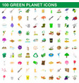 100 green planet icons set cartoon style vector image