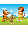 A tiger a monkey and a rat vector image vector image