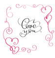 i love you text in red frame with heart vector image