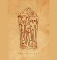 coffee glace cup craft vector image