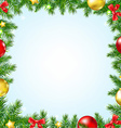 Christmas Fir Tree Border With Stars vector image vector image