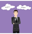 plan a plan b businessman think using suit and tie vector image