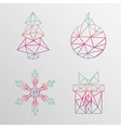 Abstract geometric christmas tree snowflake gift vector image