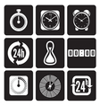 Clocks time icons set vector image