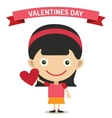 Cute cartoon girl with heart vector image