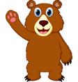 happy bear cartoon waving hand vector image