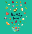 healthy food concept with pieces of vegetable vector image