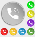 Phone icon sign Symbol on eight flat buttons vector image