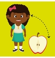 girl cartoon fruit sliced apple vector image