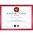 Certificate of excellence template with red border vector image