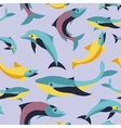 seamless pattern with fishes in flat style vector image