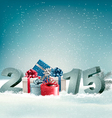 Holiday background with presents and 2015 vector image