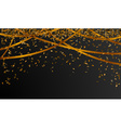 falling gold confetti on black background vector image vector image