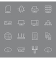 Computer Systems and Networks thin lines icons set vector image