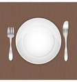 Empty white plate fork and knife vector image