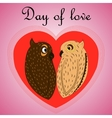 owl lovers on Valentines Day vector image