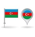 Azerbaijani pin icon and map pointer flag vector image