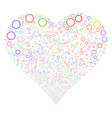 circle bubble fireworks heart vector image