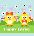happy holiday easter card funny chickens vector image
