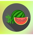 sliced watermelon flat long shadow vector image