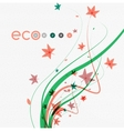 abstract floral waves with leaves nature vector image