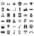 nature adventure icons set simple style vector image