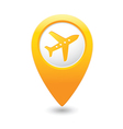 plane icon on map pointer yellow vector image vector image