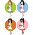 Cute young woman with homemade cake set on simple vector image