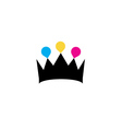 Crown with colorful droplets logo concept vector image