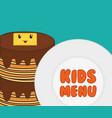 kids menu tasty pancake breakfast vector image