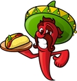 Mexican Pepper With Tacos vector image
