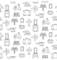 seamless pattern with Travel icons set vector image