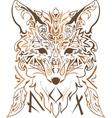 Ornamental tribal style fox silhouette vector image