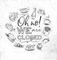 monogram we are closed vector image